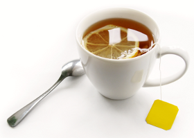 [stock photo of a cup of tea with lemon]